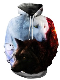 ericdress pullover print animal casual pullover hoodies