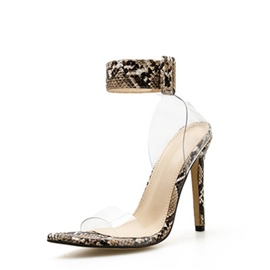 Ericdress PVC Stiletto Heel Buckle Heel Covering Women's Sandals