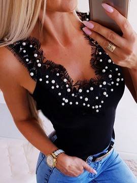 Ericdress Patchwork Beading Plain Sexy Tank Top