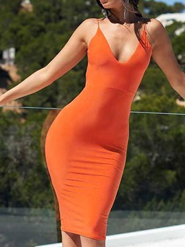 Ericdress Pencil Sleeveless Backless Spaghetti Strap Summer Orange Dress