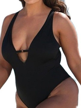 Ericdress Plus Size Hollow Plain Stretchy Swimwear