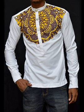 Ericdress African Fashion Button Stand Collar Color Block Mens Loose T-shirt