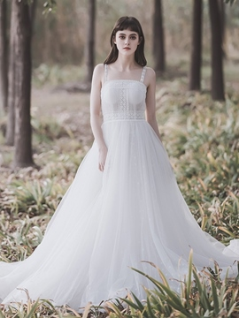 Ericdress Straps A-Line Sleeveless Court Hall Wedding Dress 2020