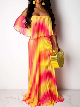 Ericdress Pleated Off Shoulder Half Sleeve Gradient Expansion Dress
