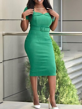 Ericdress Bodycon Plain Short Sleeve Mid-Calf Office Lady High Waist Dress