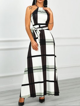 Ericdress Plaid Color Block A-Line Halter Ankle-Length Sleeveless Dress