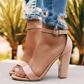 Ericdress Plain Chunky Heel Buckle Heel Covering Women's Sandals