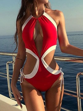 Ericdress Pleated Hollow Color Block Fashion Swimwear