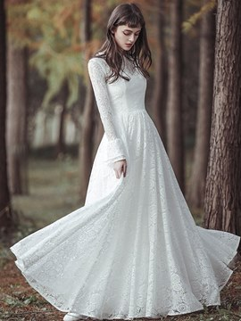 Ericdress Lace Long Sleeves Beach Wedding Dress