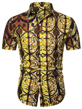 Ericdress Color Block Print Men's Single-Breasted Shirt