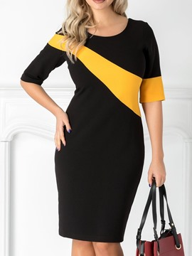 Ericdress Bodycon Patchwork Office Lady Half Sleeve Color Block Dress