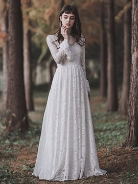 Ericdress Lace Long Sleeves Beach Wedding Dress 2019