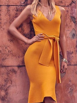 Ericdress Bodycon V-Neck Sleeveless Knee-Length Sweet Yellow Dress
