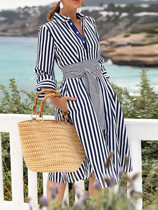 Ericdress Striped Pocket Lapel A-Line Date Night Fashion Dress