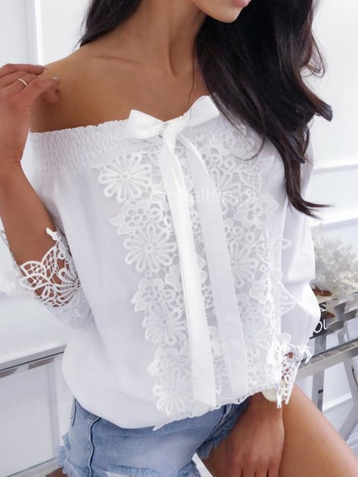 Ericdress Off Shoulder Patchwork Lace Bowknot Casual Blouse