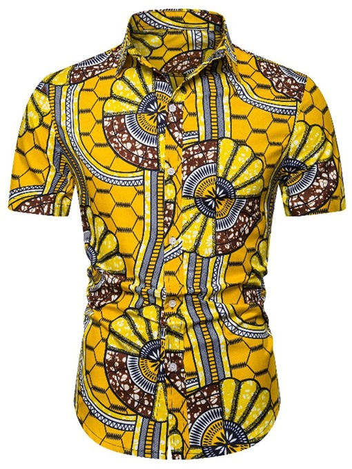 Ericdress Print Color Block Mens Single-Breasted Shirt