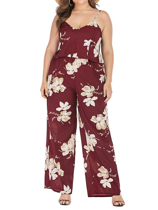 Ericdress Plus Size Pleated Floral Pullover Straight Two Piece Sets