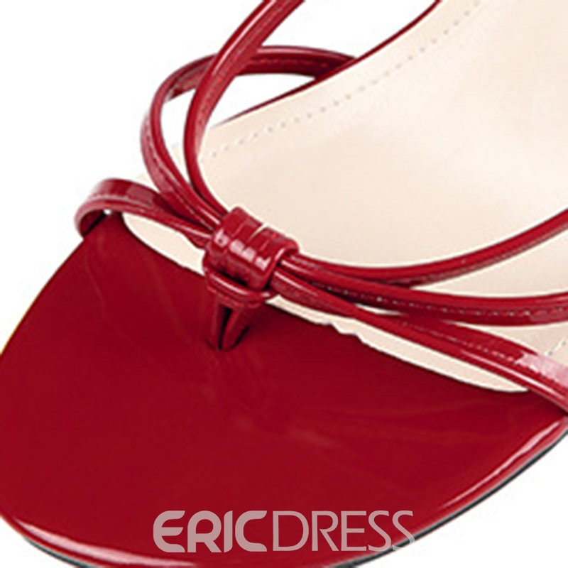 Ericdress PU Toe Ring Ankle Strap Chunky Heel Women's Sandals