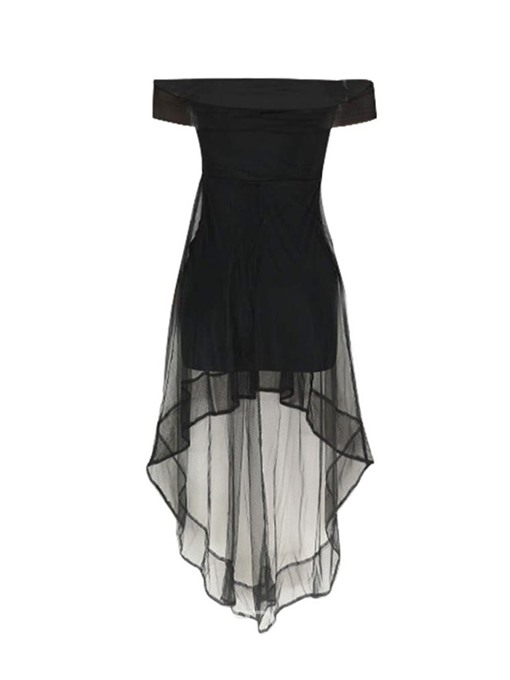 Ericdress See-Through Swallowtail Off Shoulder Little Black Dress
