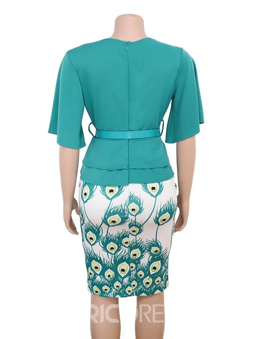 Ericdress Plus Size Ruffles Workwear Patchwork Belt Half Sleeve V-Neck Bodycon Dress