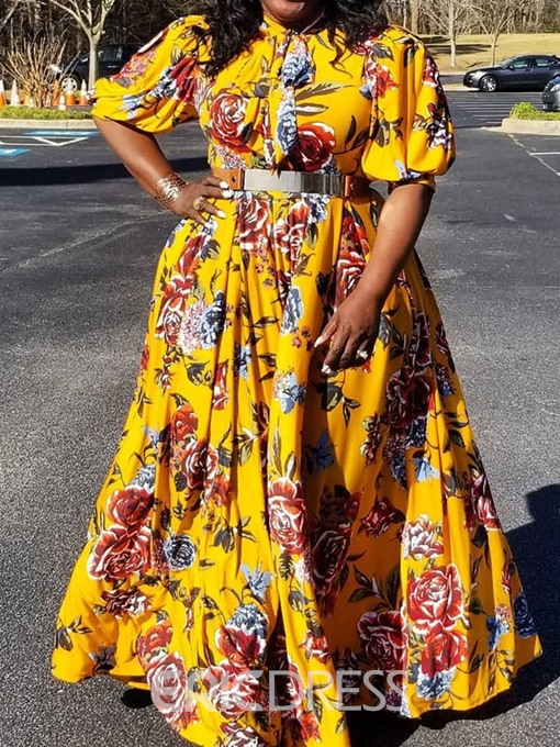 Ericdress Plus Size Print Lantern Sleeve Floor-Length Expansion Dress(Without Waistband)