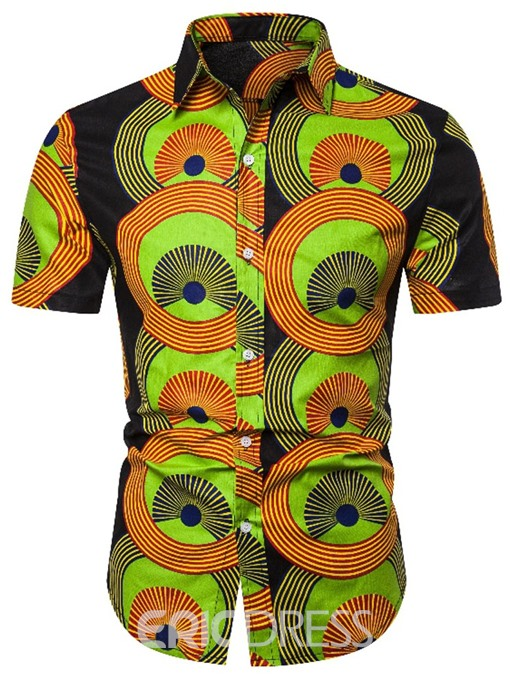 Ericdress Print Lapel Mens Single-Breasted Shirt