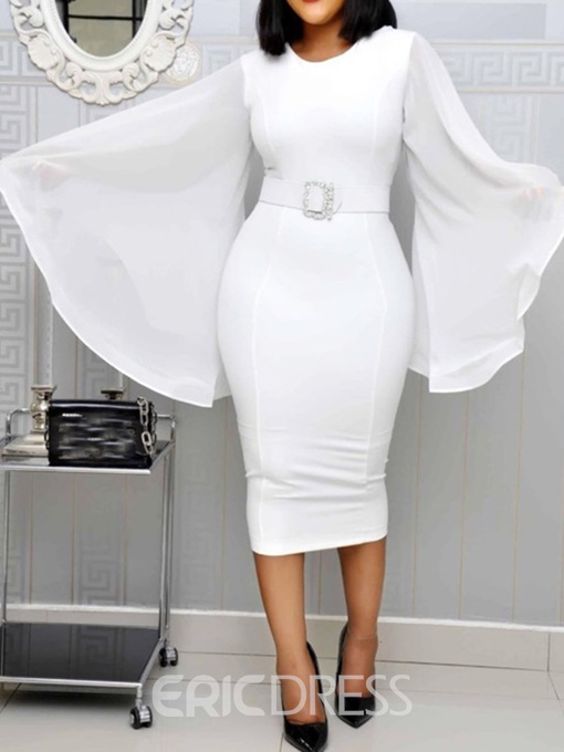 Ericdress Plus Size Flare Sleeve Pencil Round Neck Mid-Calf Dress