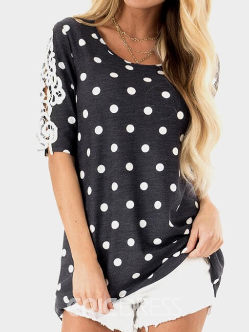 Ericdress Mid-Length Color Block Short Sleeve Loose Casual T-Shirt