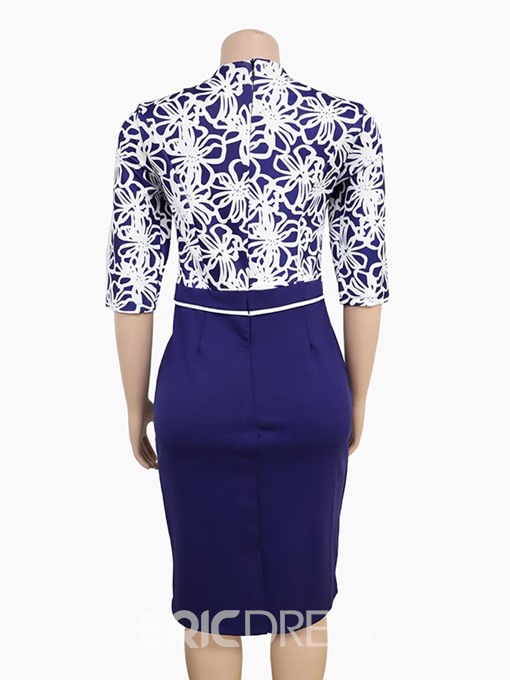 Ericdress Plus Size Workwear Bodycon Color Block Print Patchwork Dress