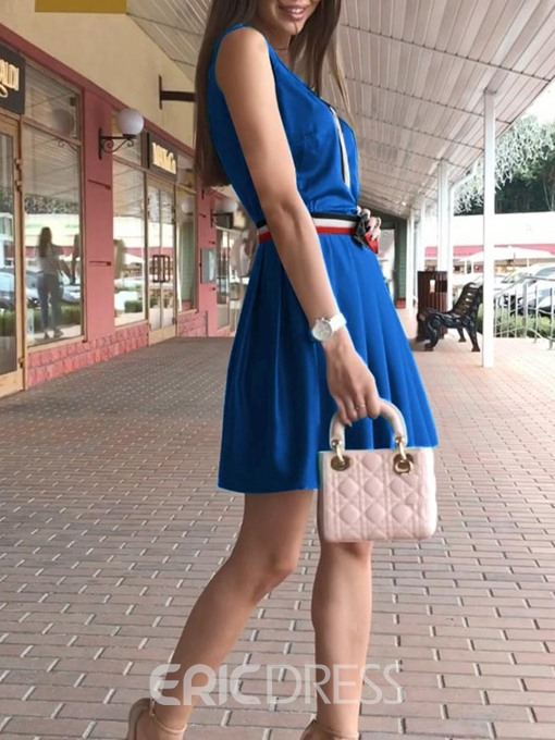 Ericdress A-Line Above Knee Casual Bowknot Sleeveless Pullover Dress