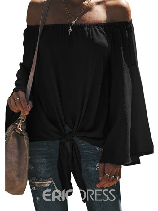 Ericdress Off Shoulder Flare Sleeve Pleated Lace-Up Blouse