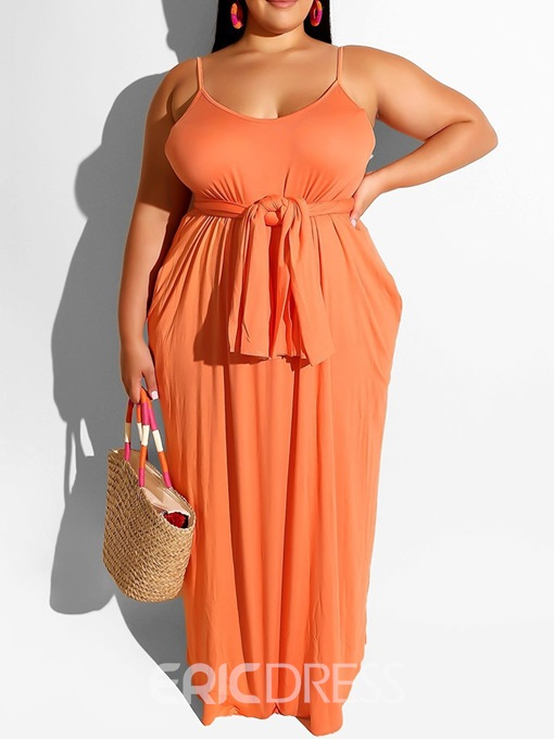 Ericdress Plus Size Pocket Sleeveless Floor-Length Casual Dress
