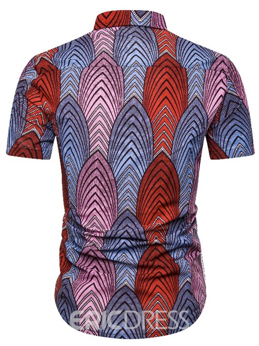 Ericdress Button Color Block Men's Single-Breasted Shirt