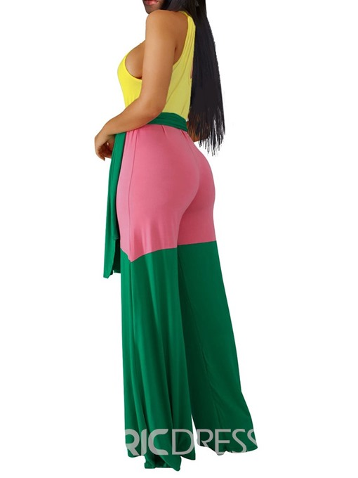 Ericdress Full Length Fashion Color Block Mid Waist Straight Jumpsuit