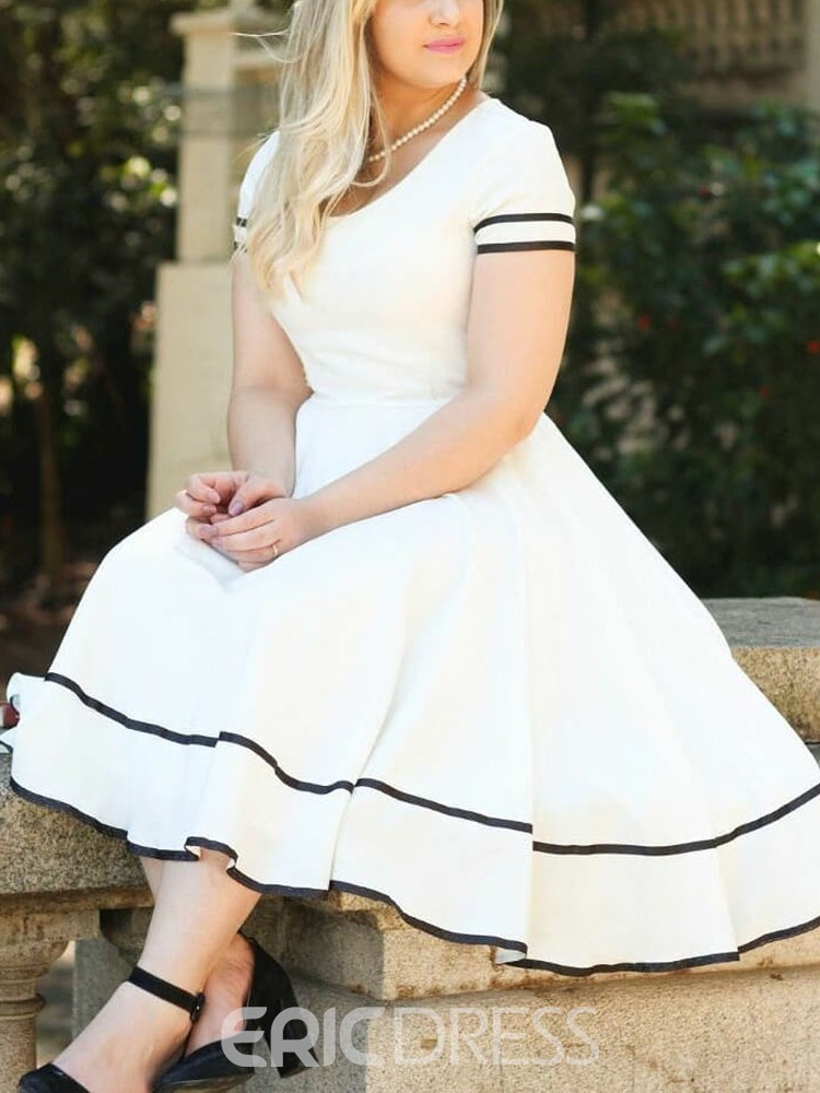 Ericdress Plus Size A-Line Patchwork Short Sleeve Sweet Date ...