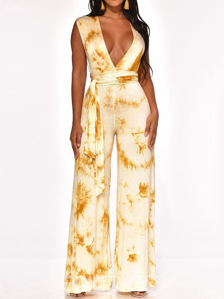 Ericdress Print Fashion Full Length Loose Women's Jumpsuit