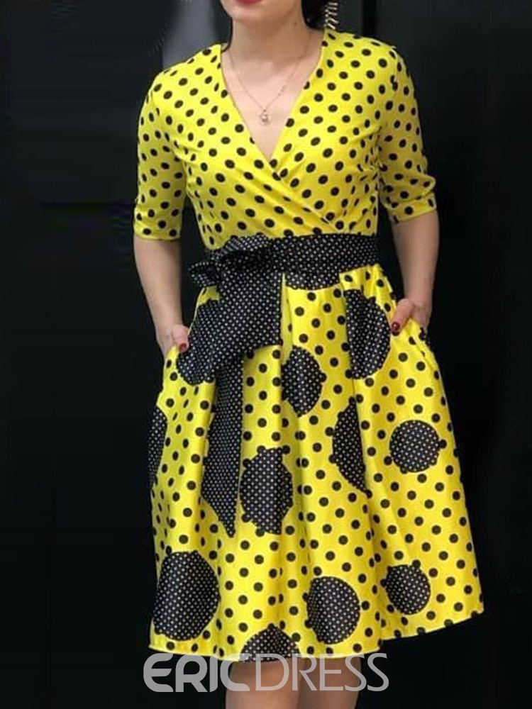 Ericdress Plus Size Polka Dots Short Sleeve V-Neck Pocket Sweet Dress