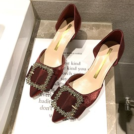 Ericdress Rhinestone Pointed Toe Kitten Heel Women's Pumps