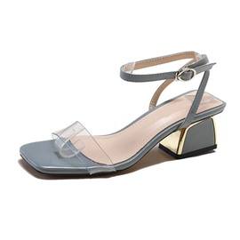 Ericdress PVC Ankle Strap Open Toe Chunky Heel Women's Sandals
