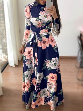 Ericdress Floral A-Line Floor-Length Stand Collar Print Dress