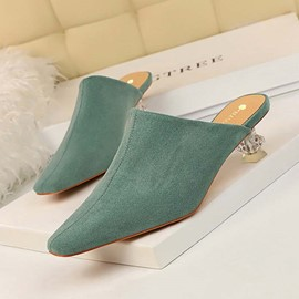 Ericdress Faux Suede Kitten Heel Closed Toe Women's Mules Shoes