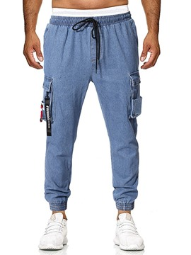 Ericdress Overall Lace-Up Thin Mid Waist Men's Lace-Up Jeans