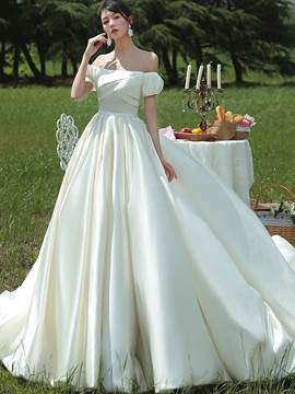 Ericdress Off-The-Shoulder A-Line Church Wedding Dress 2020