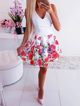 Ericdress Floral Print A-Line Above Knee V-Neck Single Summer Dress