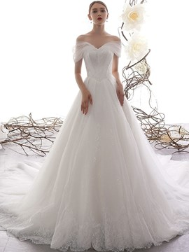 Ericdress Lace Off-The-Shoulder Floor-Length Chapel Church Wedding Dress 2020