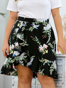 Ericdress Plus Size Floral Asymmetrical High Waist Casual Skirt