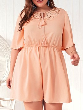 Ericdress Plus Size Hollow Above Knee Lace-Up Regular Dress