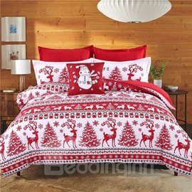 Ericdress Cotton Christmas Four-Piece Set Duvet Cover Set Wash Reactive Printing