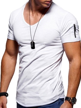 Ericdress V-Neck Plain Zipper Men's Loose T-shirt