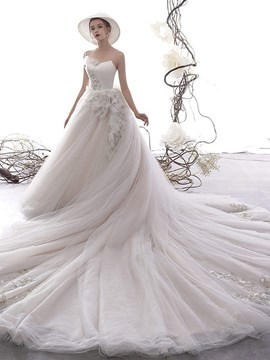 Ericdress Sweetheart Feather A-Line Floor-Length Church Wedding Dress 2020